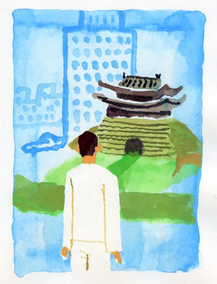 ANA機内誌翼の王国3月号吉田修一連載エッセイ「空の冒険」イラストレーション_c0075725_1129106.jpg