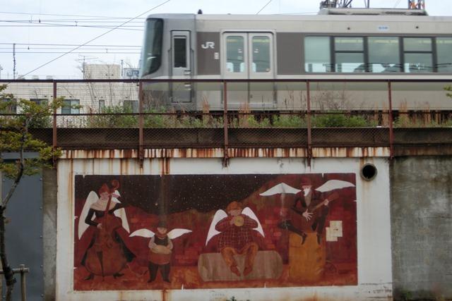 山陽本線鉄道沿線壁画展覧会、素晴らしいです!JR鷹取駅の壁画、山陽本線神戸貨物ターミナルの壁画に注目_d0181492_22131210.jpg