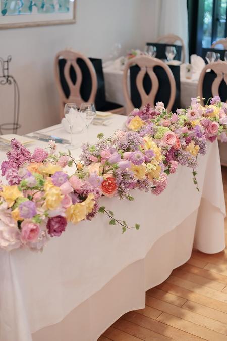5月の装花 日比谷パレス様へ ライラック色のドレスに_a0042928_20242548.jpg