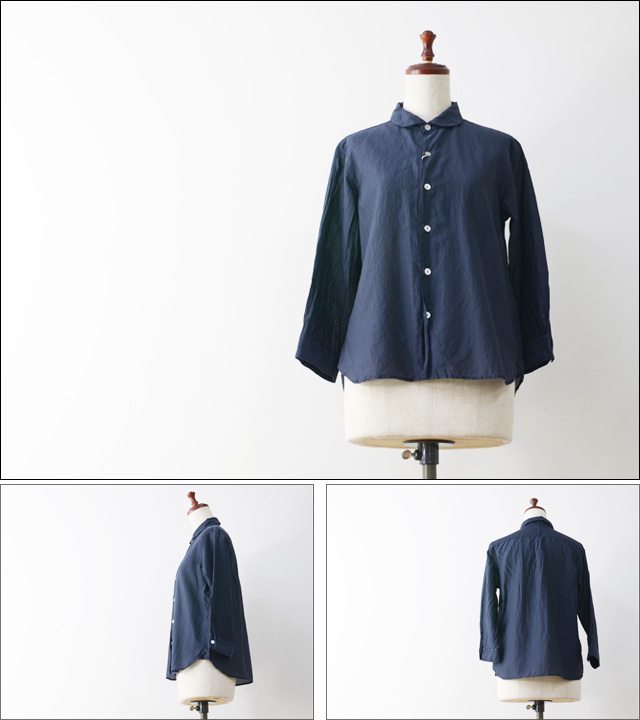 RINEN [リネン] コットンシルクローン7分袖ラウンドカラーシャツ [32439] LADY\'S_f0051306_20103945.jpg