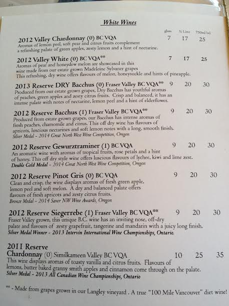 Bacchus wine list