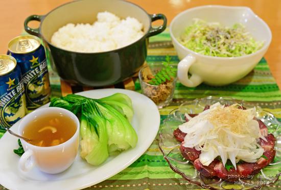 5月26日 月曜日 鰹と卵のそぼろごはん&青梗菜の干し海老餡かけ_b0288550_17342939.jpg