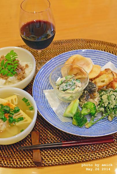 5月27日 火曜日 塩天丼&青梗菜のヨーグルト胡麻和え_b0288550_10175370.jpg