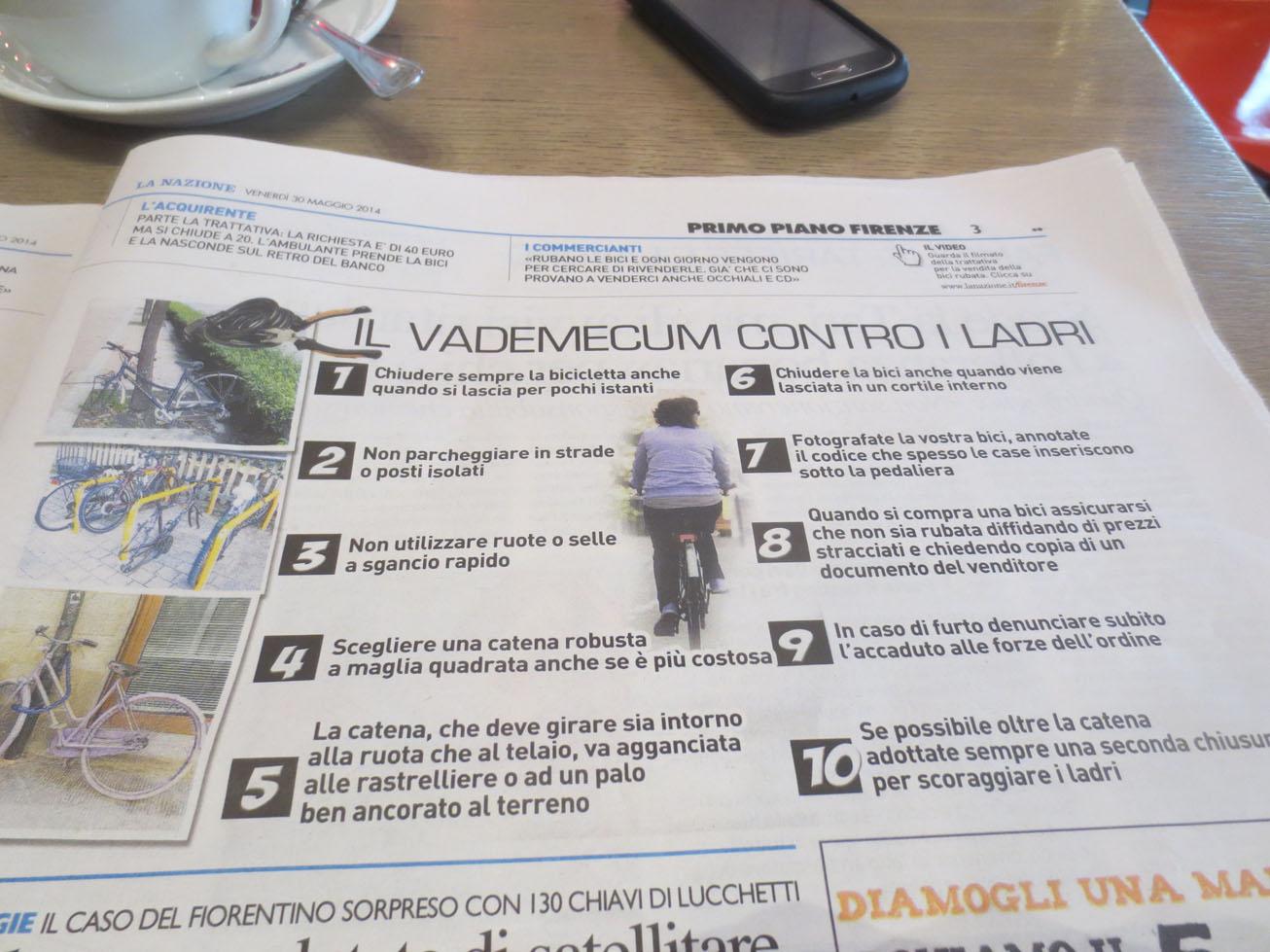 自転車泥棒を防ぐ為の10ヶ条@イタリア編ーーちょっと笑える_c0179785_16122044.jpg