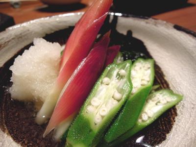 糸島の芝エビ&オクラとみょうがの酢の物_f0232994_3245126.jpg