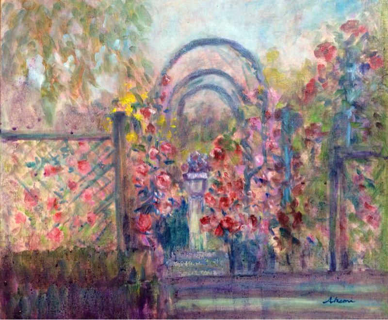 薔薇園(油絵)_e0233674_8174491.jpg