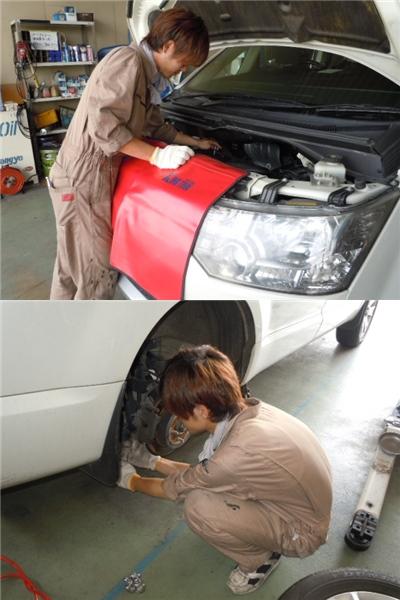 今日のマー君♪ 三菱デリカ 車検整備中です。_c0213517_13151928.jpg