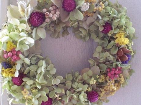 もひとつバジルグリーン紫陽花リース_c0207719_1728244.jpg