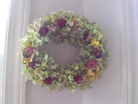 もひとつバジルグリーン紫陽花リース_c0207719_17283275.jpg