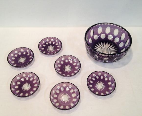 店頭 新入荷商品のご紹介 瑠璃色皿 水玉切り子_e0270483_11104372.jpg