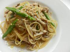 7/8本日パスタ:鶏挽肉とキノコの和風スパゲティ_a0116684_11554917.jpg