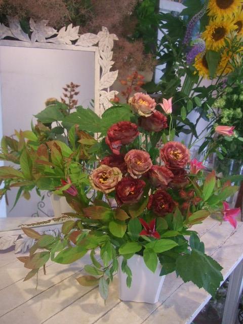 オークリーフ花の教室(トルコキキョウとひまわり)_f0049672_183598.jpg