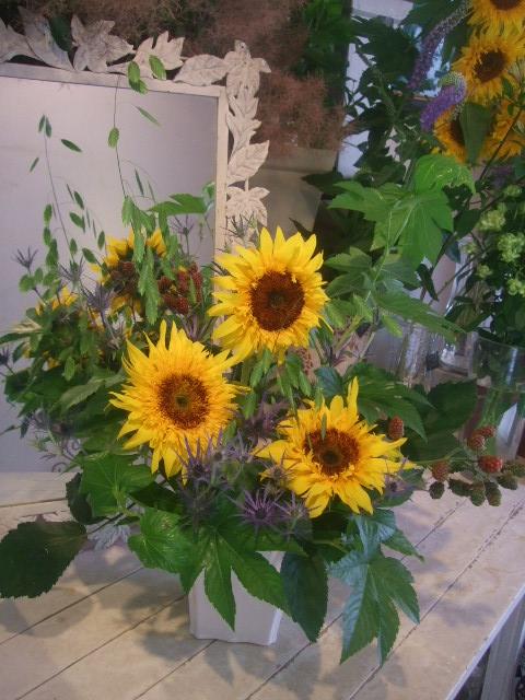 オークリーフ花の教室(トルコキキョウとひまわり)_f0049672_1875139.jpg