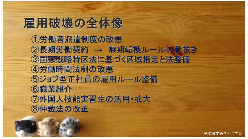 【動画】労災職業病チャンネル1-3「ジョブ型正社員の雇用ルール整備、解雇の金銭解決制度の問題点 」_e0149596_18203893.jpg