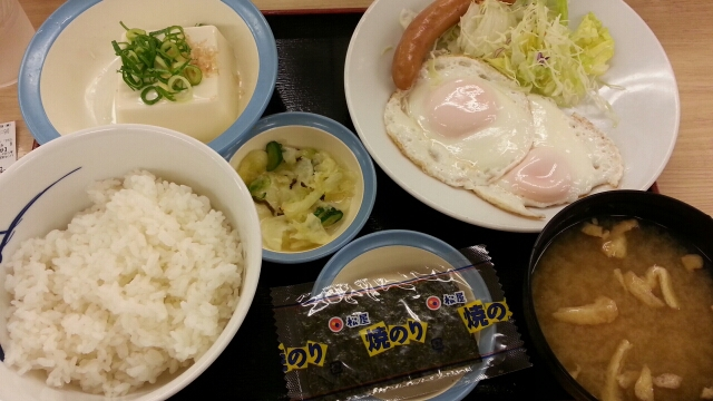 ソーセージWエッグ定食¥450@松屋_b0042308_718253.jpg