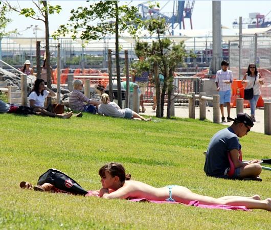 ブルックリン・ブリッジ・パーク特集(6):芝生広場で日光浴_b0007805_14243014.jpg