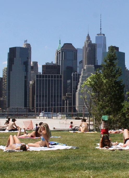ブルックリン・ブリッジ・パーク特集(6):芝生広場で日光浴_b0007805_14264195.jpg