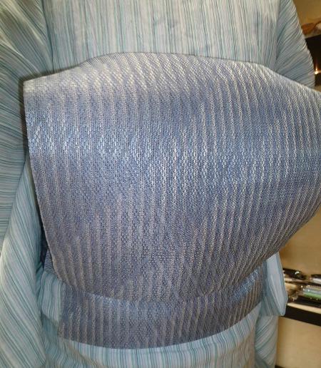 小千谷縮に羅紗織八寸帯・小雪さんの竺仙松煙染。_f0181251_18294072.jpg