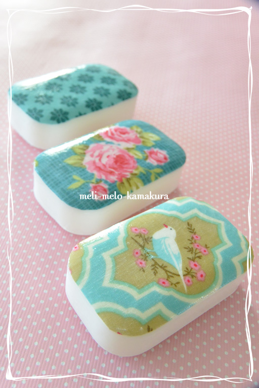◆デコパージュ*布でもできます、『Tilda』の石鹸_f0251032_21414127.jpg