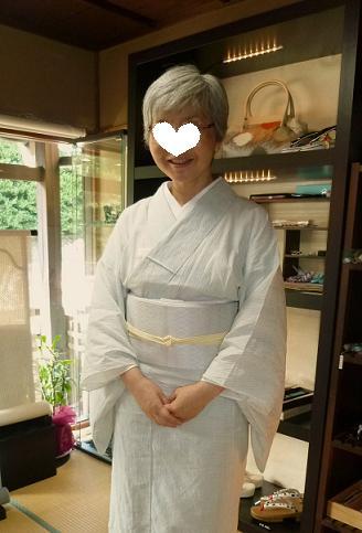涼しげな越後上布に、羅紗織の帯のお客さま。_f0181251_1775027.jpg
