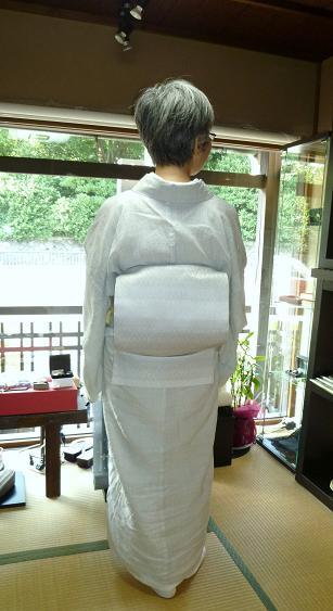 涼しげな越後上布に、羅紗織の帯のお客さま。_f0181251_1784919.jpg