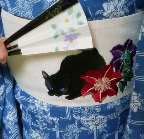 上七軒ビアガーデンの皆様・綿紅梅に黒猫の帯。_f0181251_18583673.jpg