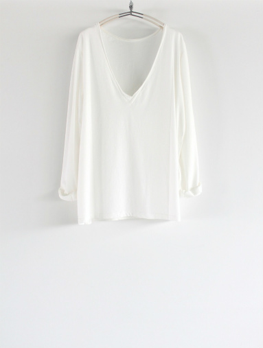 BARENA Deep V-Neck L/S Tee / White (LADIES ONLY)_b0139281_11541094.jpg