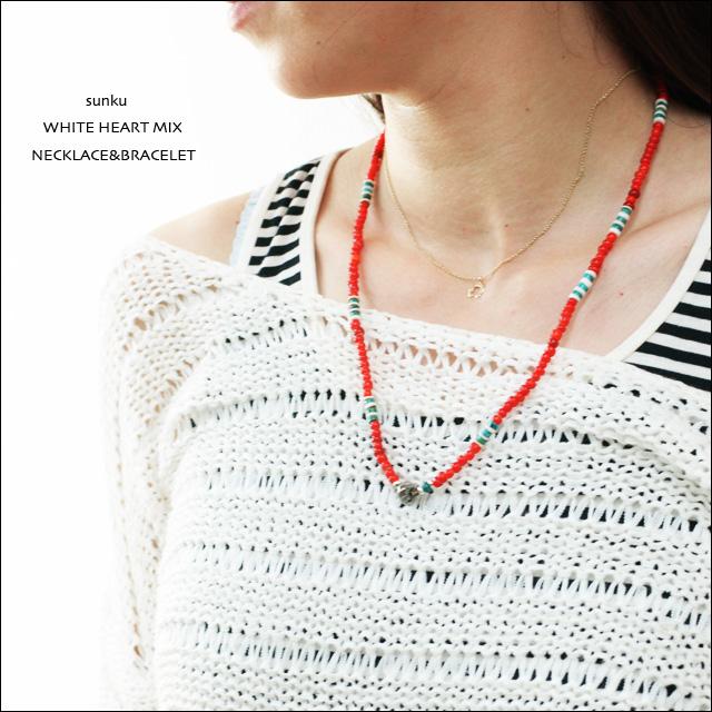 Sunku 39 [サンク] WHITE HEART MIX NECKLACE&BRACELET [SK-088] ホワイトハーツミックス_f0051306_16594837.jpg