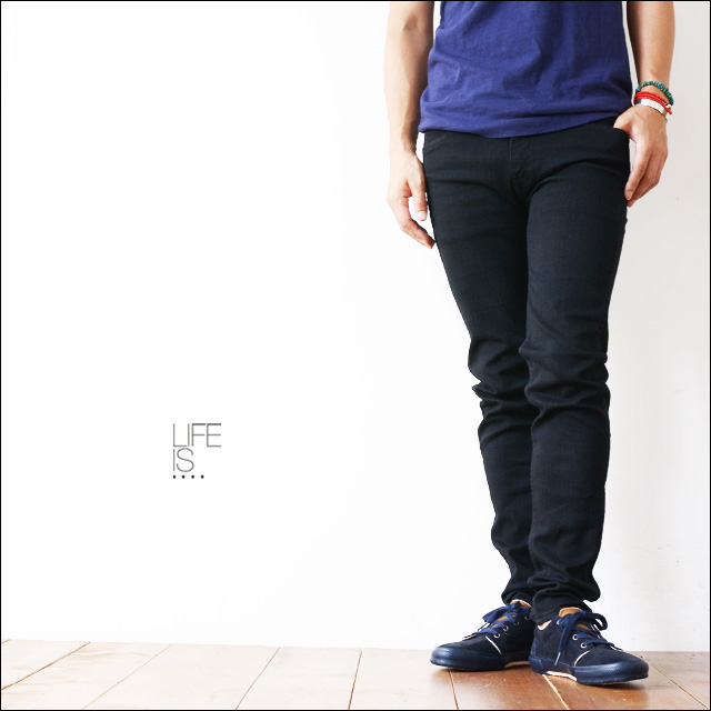 LIFE IS...[ライフイズ] SKINNY FLAT BLACK 12.5oz DENIM PANTS [PA-345] スキニーフラット ブラックデニム_f0051306_17114454.jpg