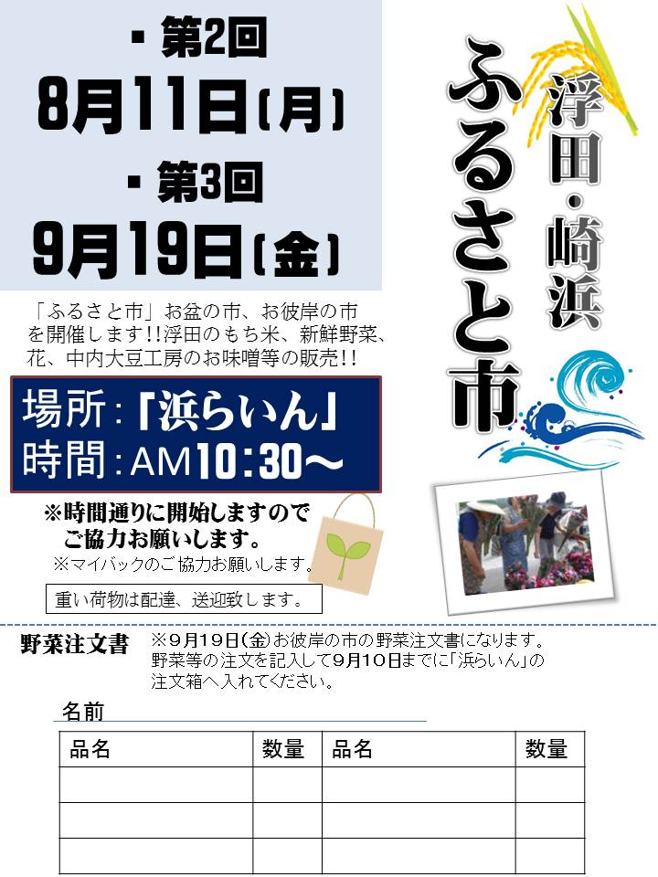 第2回浮田・崎浜「ふるさと市」8月11日開催!_d0206420_9263217.jpg