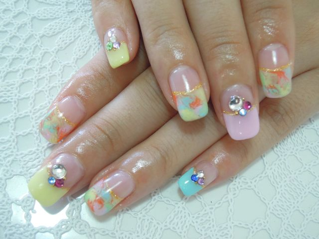 Colorful Marble Nail_a0239065_13305010.jpg