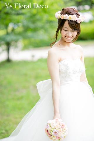 シュガートーンの淡い色合い 花冠&ブーケ 大阪へ_b0113510_0251197.jpg