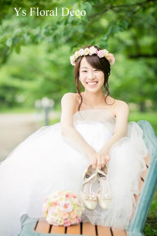 シュガートーンの淡い色合い 花冠&ブーケ 大阪へ_b0113510_0255539.jpg
