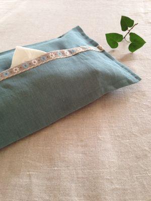 tissue box cover  リネン×チロリアンテープ♪_a0165160_695755.jpg