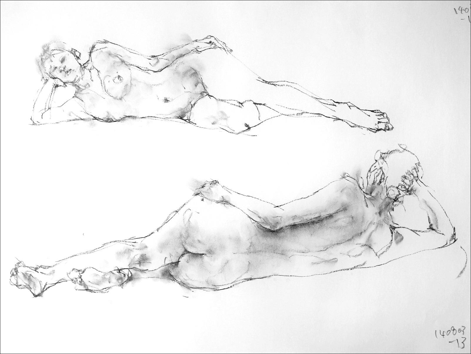 《 片肘で横たわるポーズ 3・4 》_f0159856_729275.jpg