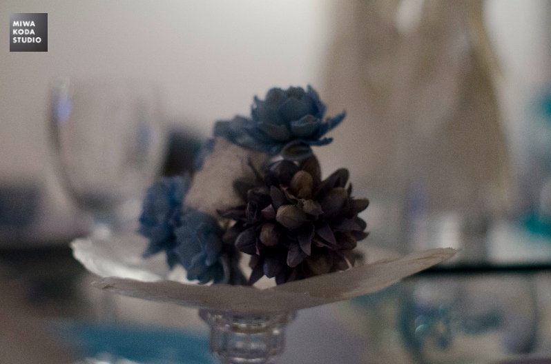 August 30, 2014 プールサイドのテーブル:青と白のお花 Summer Table: Blue and White_a0307186_20513156.jpg