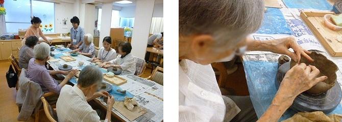 陶芸で鉢作り<アクティブライフ夙川・デイサービス>_c0107602_14435176.jpg