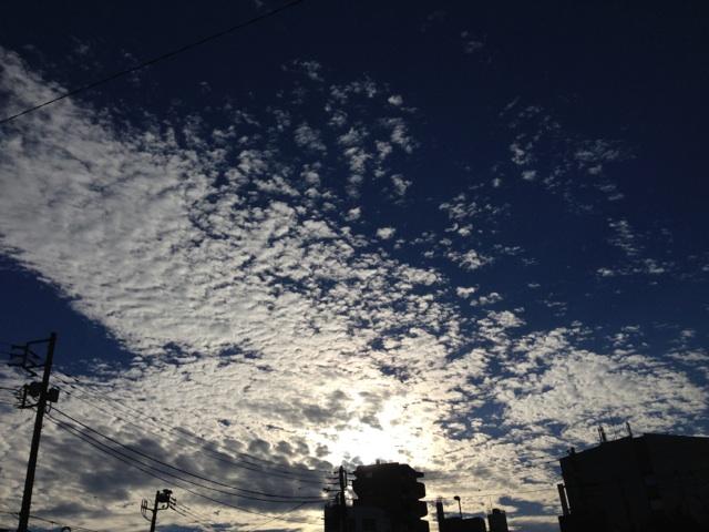 今日の雲~青い空、白い雲、輝く夕日^^~_b0298740_13440111.jpg