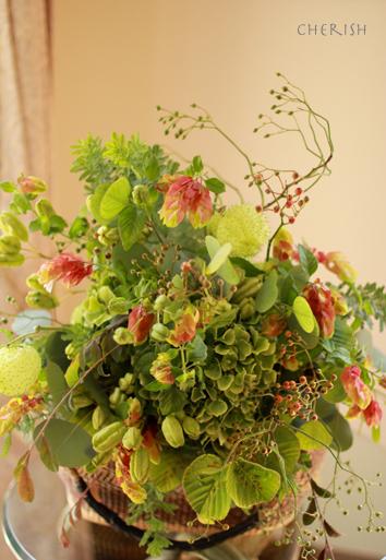 お庭のグリーンのシャンペトルブーケレッスン 2014_b0208604_15480332.jpg