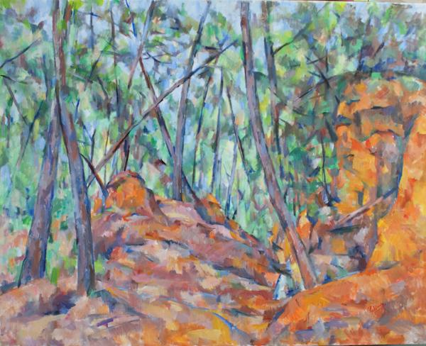 森の中の赤い岩(完成)_c0236929_019542.jpg