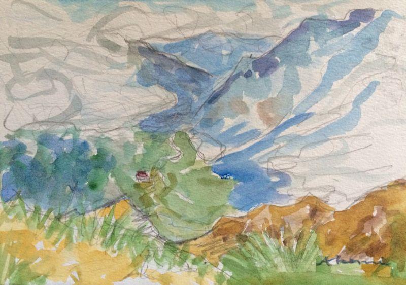 焼岳から上高地を望む(水彩画)_e0233674_2162828.jpg