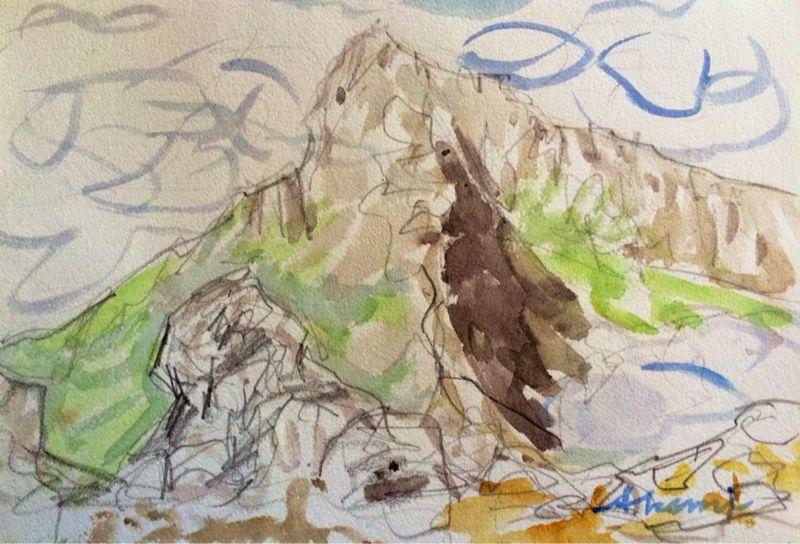 焼岳から上高地を望む(水彩画)_e0233674_2162931.jpg