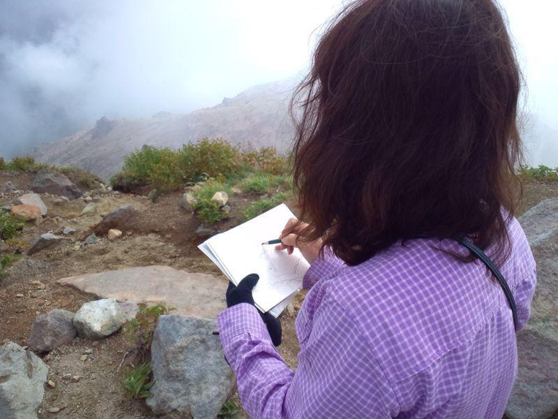 焼岳から上高地を望む(水彩画)_e0233674_2163226.jpg