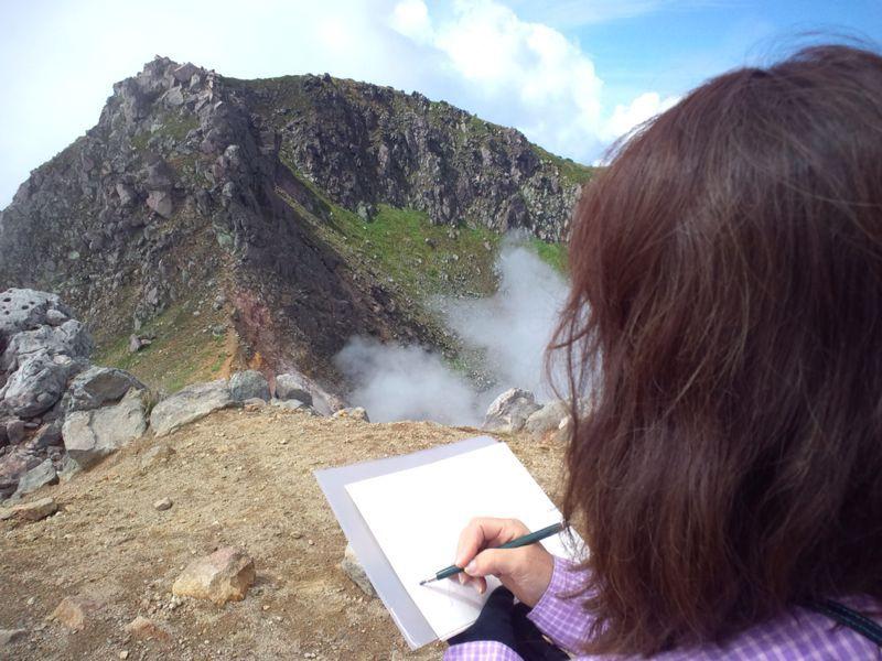 焼岳から上高地を望む(水彩画)_e0233674_2163323.jpg