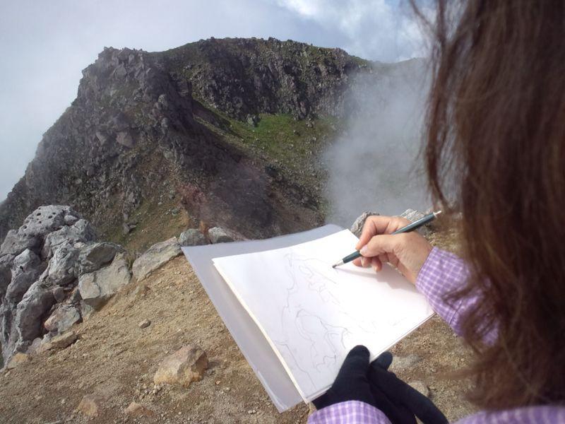 焼岳から上高地を望む(水彩画)_e0233674_2163342.jpg