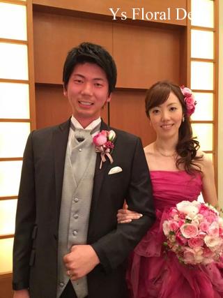 チェリーピンクのドレスに ピンク色のバラブーケ_b0113510_15215463.jpg