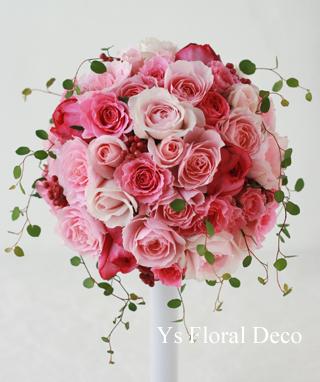 チェリーピンクのドレスに ピンク色のバラブーケ_b0113510_1522764.jpg