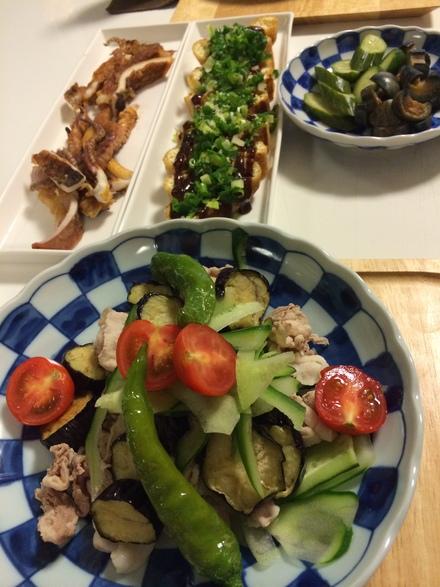 揚げナスと豚肉の野菜サラダ・・・9/11_b0247223_2120359.jpg