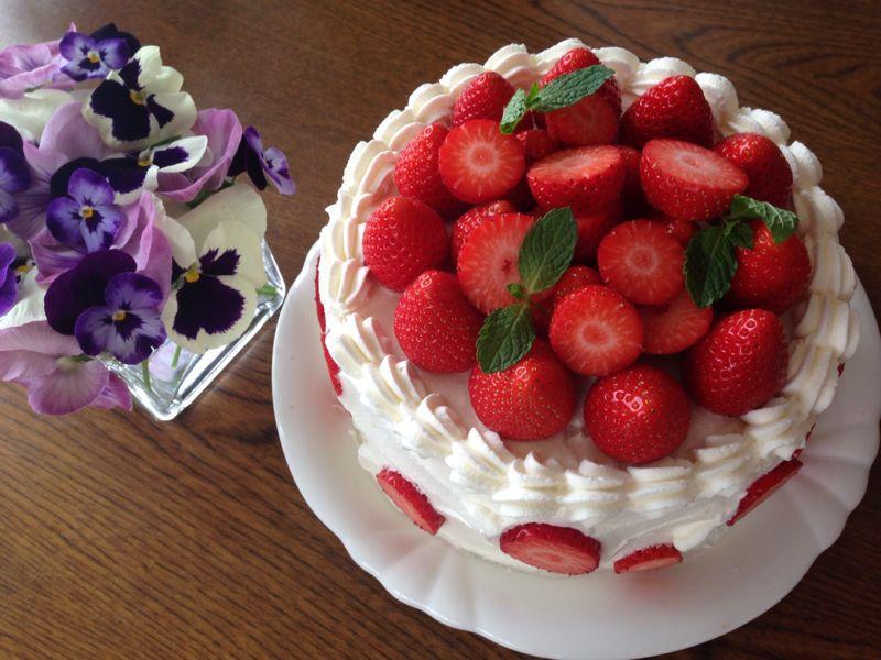 苺のデコレーションケーキ 手作りケーキ色々