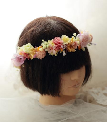 プリザーブドフラワーの花冠 秋の明るい色で オレアジ様へ_a0042928_2318224.jpg